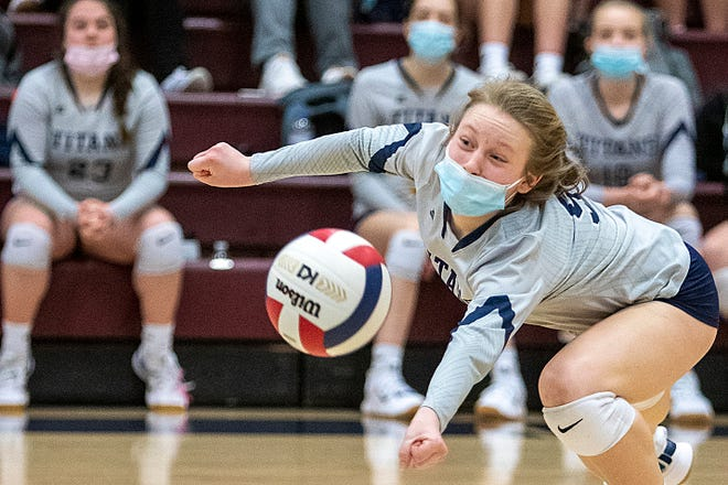 """Monmouth-Roseville freshman Elise Blaesing dives for the ball during the Titans' 2-1 win over West Prairie on Wednesday, March 31, 2021 at """"The Shoebox."""""""