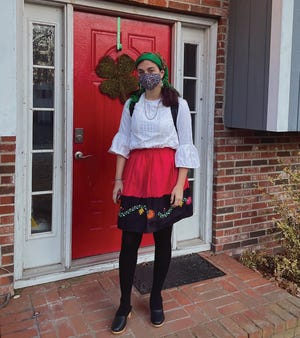 """A aluna Anabel Caramelo vestiu-se com um traje tipicamente português durante a  """"Semana das Línguas do Mundo e da Diversidade,"""" recentemente celebrada no Taunton High School."""