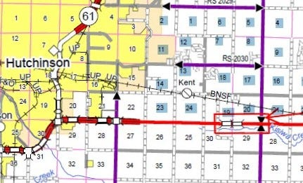 This map shows the location of the survey work planned on U.S. 50 starting next week, marked with the red arrow.