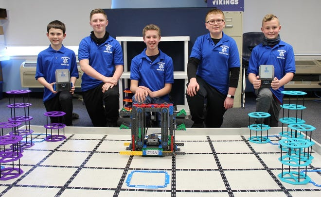 Parker Tabor, Patrick Bragg, Isaac Butcher, Kaiden Legg and Jayse Casto will compete at the state robotics competition.