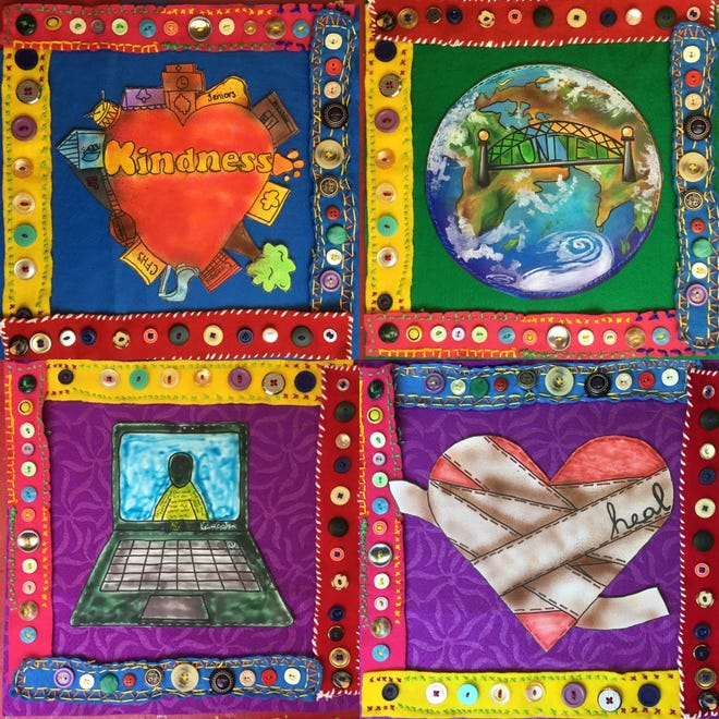 Each school has designed and created quilt squares for display during this year's All City Art Walk.