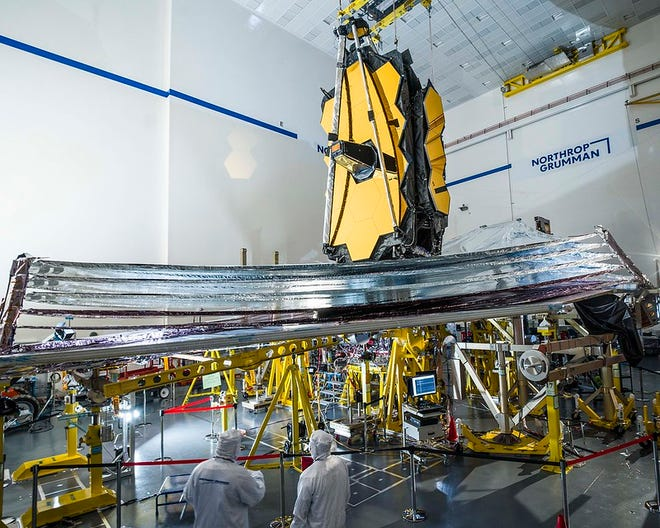 A look at the James Webb Telescope. Thaddeus Cesari said the spacecraft is currently going through its final movement tests and is being packed down for launch so it is a much smaller size.