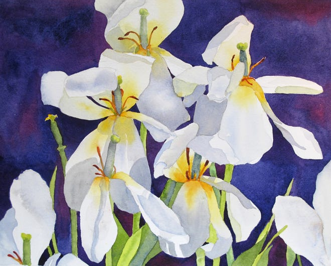 """A painting by Nan Daly, """"White Cyclamen."""" Daly will be be one of the jurors in The Front Street Art Gallery's """"Scituate Arts Juried Show."""""""