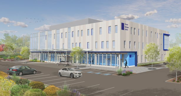 Rendering of a medical building FoxRock is proposing to build at 200 Libbey Parkway in Weymouth.