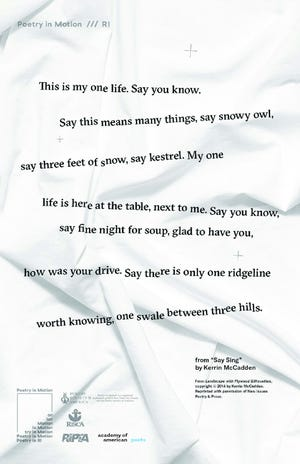 "From ""Say Sing,"" by Kerrin McCadden, one of six posters featuring poetry and art distributed to Rhode Island schools by the state's poet laureate, Tina Cane."