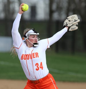 Sydnee Koosh of Hoover delivers a pitch during their game against Lake at Hoover on Wednesday, March 31, 2021.