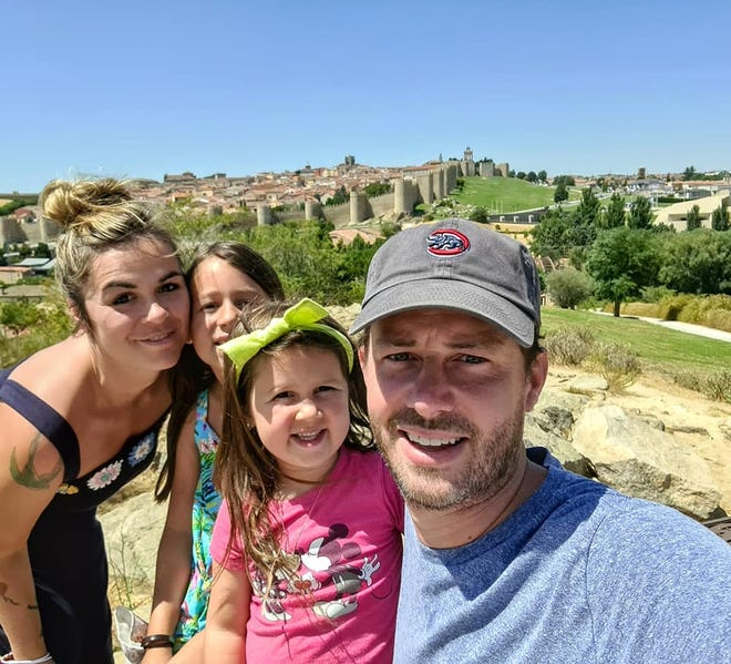 Mary, Zoey, 9, Munro, 5, and Colin Swanson pose in Avila, Spain. Mary Swanson, a Rockford native, is an art teacher at the American School of Madrid in Spain.