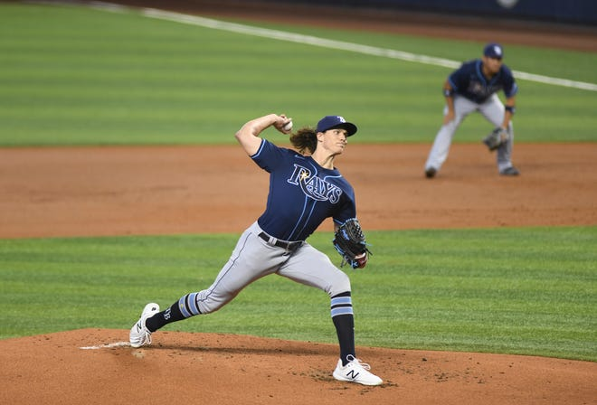 Tampa Bay Rays starting pitcher Tyler Glasnow throws a pitch in the first inning during Thursday's game against the Marlins in Miami. Glasnow threw six shutout innings allowing one hit while striking out six.