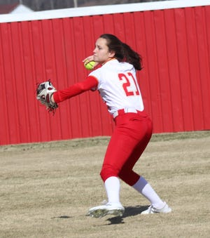 Dale's Addie Bell (21) fires the ball back into the infield during a recent game.