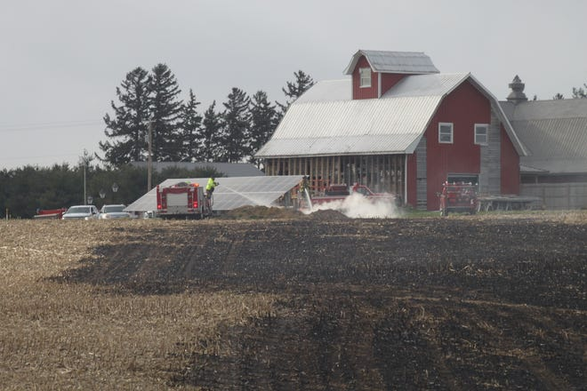 Firefighters from Kewanee, Galva and Bishop Hill extinguished a fire near The Stables property on Ill. Route 78.