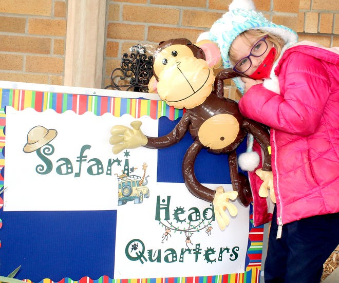 First-grader Mia Lowry gets ready to go on the safari-themed scavenger hunt.