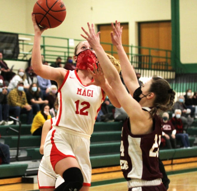 Brenna Fisher glides up to score two points for Colon in the regional finals at Mendon on Wednesday.