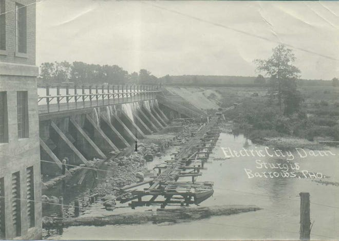 """The """"Electric City"""" dam that was constructed to bring power to Sturgis, around the time of its construction in 1911."""