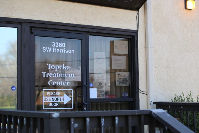 A sign outside Topeka Treatment Center, one of seven methadone clinics in Kansas for opioid treatment.