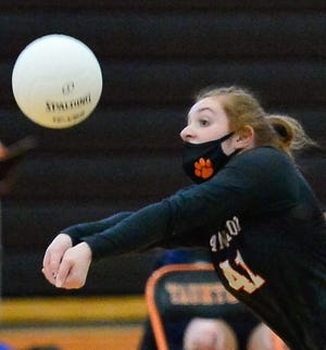 Taunton's Hayley Krockta returns a volley during a scrimmage game against Stoughton. The Lady Tigers lost to Milford on Senior Night Wednesday.