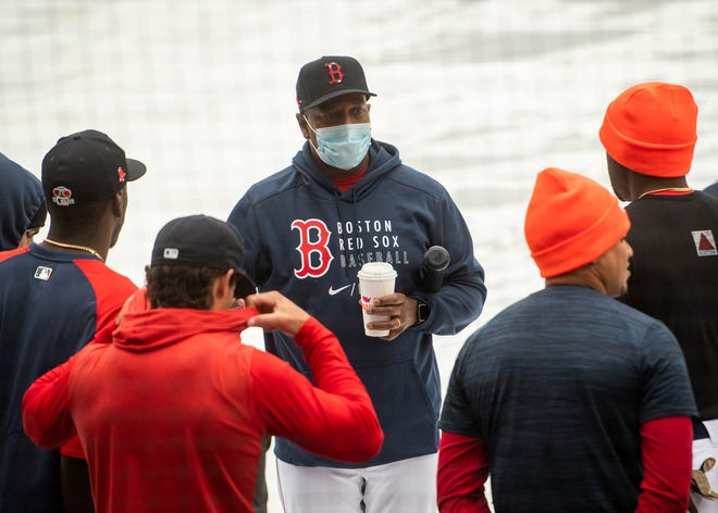 Worcester Red Sox manager Billy McMillon talks with the team during the first day of training at Polar Park on April 1.