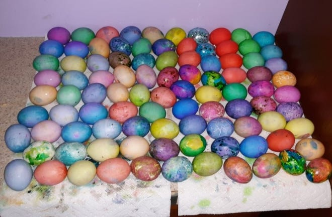 Family members enjoyed getting together and had a ball coloring hard boiled eggs for Easter.