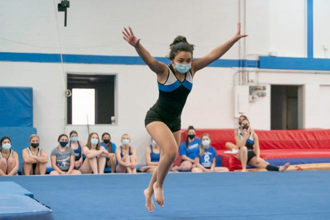 Emily Apodaca begins a tumble while at Central girls gymnastics practice on Wednesday March 31, 2021.