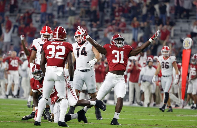 Alabama linebacker Will Anderson Jr. (31) celebrates after making a play against Georgia on Oct. 17, 2020, at Bryant-Denny Stadium in Tuscaloosa.