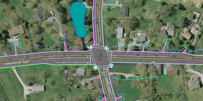 The project involving the Worthington Road intersection with Africa Road will include widening Worthington Road to five lanes through the intersection and adding a right-turn lane for southbound Africa Road travel.