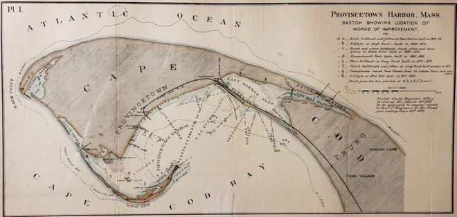 A Provincetown Harbor sketch 'Showing Location of Works of Improvement' by the United States Engineer Office, 1876. Race Point is seen in the upper left.
