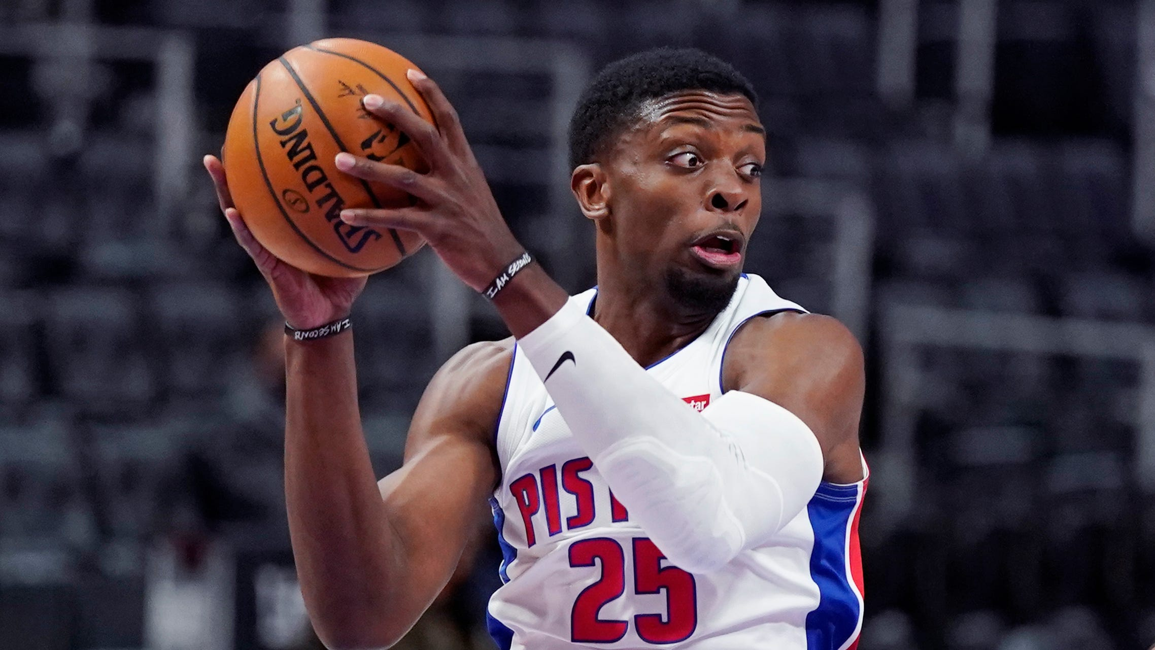 Detroit Pistons forward Tyler Cook looks to pass during the second half of an NBA basketball game against the Portland Trail Blazers, Wednesday, March 31, 2021, in Detroit.