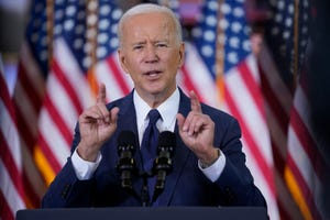 President Joe Biden delivers a speech on infrastructure spending at Carpenters Pittsburgh Training Center, Wednesday in Pittsburgh.