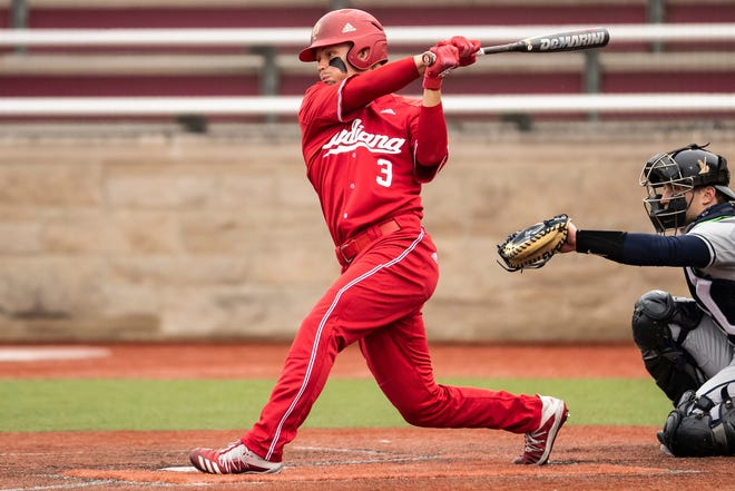 Memorial graduate Drew Ashley (3) is thriving in the leadoff spot for Indiana University.