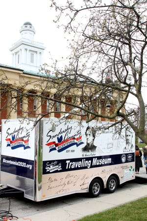 """The Sandusky County Traveling History Museum was at the courthouse recently for a rally celebrating the county's bicentennial """"plus one. """""""