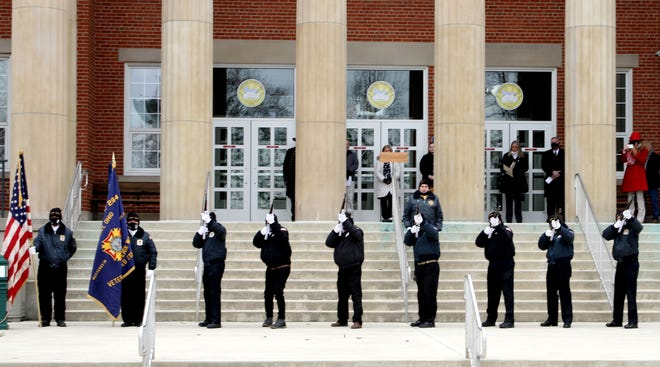 A 21-gun salute was presented at the Sandusky County Courthouse on Thursday, celebrating the county's bicentenial plus one year.