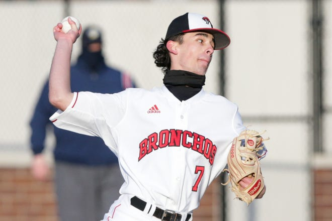 Lafayette Jeff's Nolan Grabavoy (7) pitches during the third inning of an IHSAA baseball game, Wednesday, March 31, 2021 at Loeb Stadium in Lafayette.