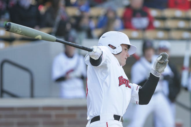 Lafayette Jeff's Caleb Koeppen (10) swings during the first inning of an IHSAA baseball game, Wednesday, March 31, 2021 at Loeb Stadium in Lafayette.