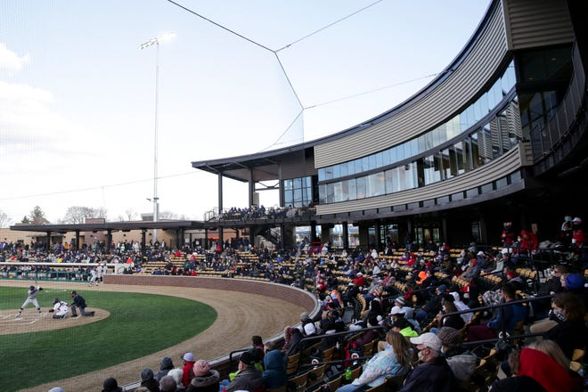 Inside Loeb Stadium as the Lafayette Jefferson Bronchos host the Central Catholic Knights during the grand opening of the stadium, Wednesday, March 31, 2021 in Lafayette.