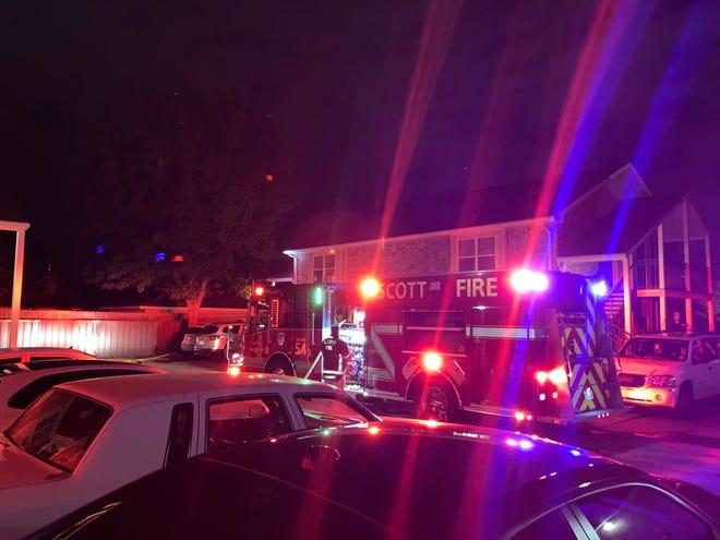 The Scott Fire Department battles a blaze at the Lafayette Garden Apartments on March 31, 2021.