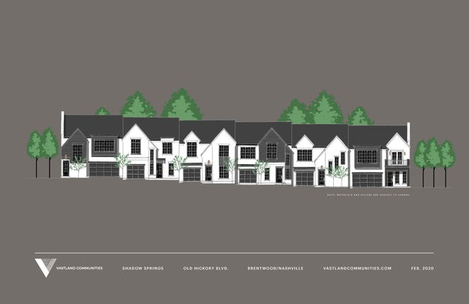 This rendering shows the front of Shadow Springs, Vastland's new townhome development in Brentwood.