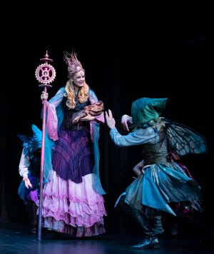"""A Midsummer Night's Dream"" Shakespeare Theatre of New Jersey. Ellie Gossage, left, as Titania and Christian Frost as a Fairy."
