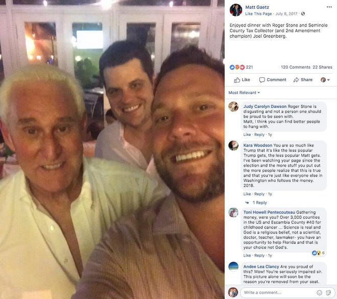 Matt Gaetz poses with indicted Seminole County Tax Collector, Joel Greenberg and Roger Stone.