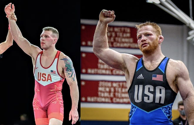 Kennard-Dale High graduates John Stefanowicz, left, and Chance Marsteller celebrate after wrestling wins. The brothers will both compete for spots on Team USA at Olympic Team Trials in Texas this weekend.