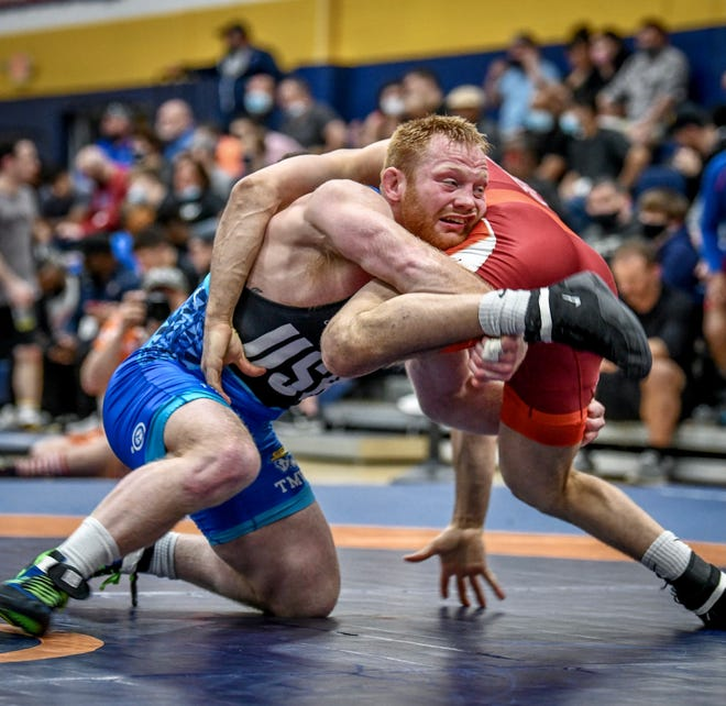 Kennard-Dale High graduate Chance Marsteller wrestles during the Last Chance Qualifier event in Texas. Marsteller won the event and didn't allow a point in five matches.