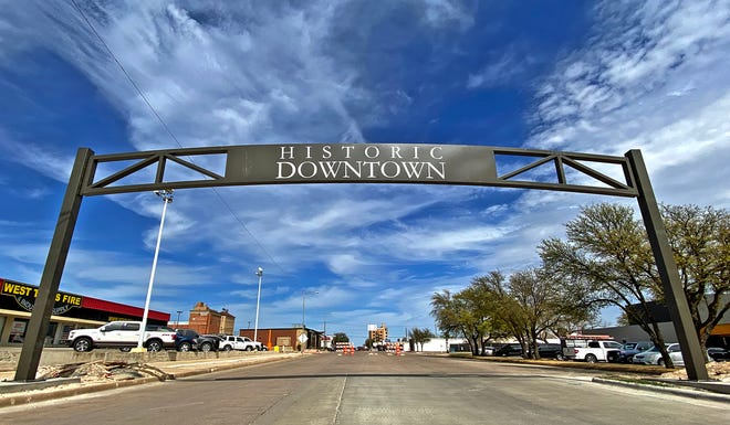 A new gateway arch is erected in downtown San Angelo at the intersection of S. Randolph St. and W. Concho Ave. on Wednesday, March 31, 2021.