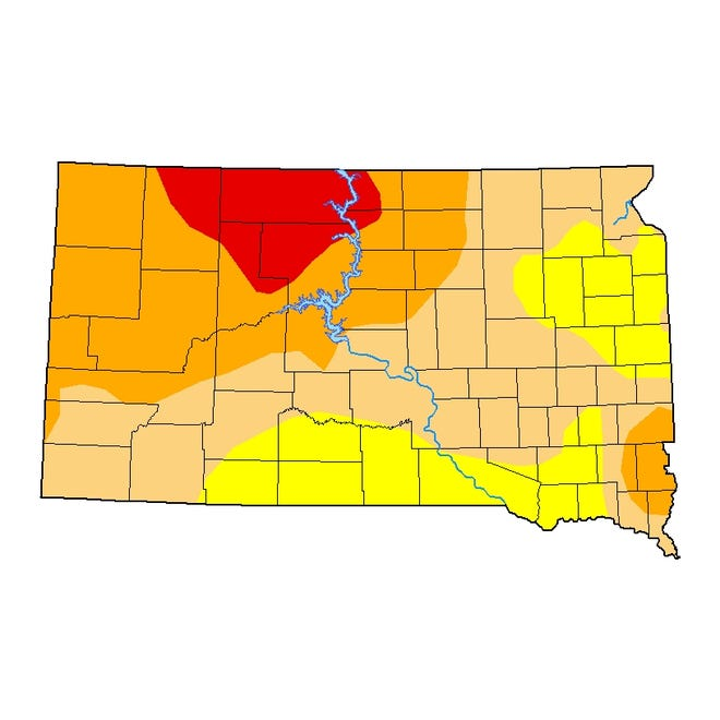 This map from the National Drought Mitigation Center shows drought conditions for South Dakota using data from March 30. Sioux Falls and western parts of the state are classified as severe drought, as shown in orange.