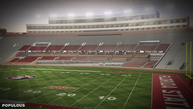 Another angle of the conceptual renovation to the Doak Campbell Stadium west sideline, complete with a field-level club.