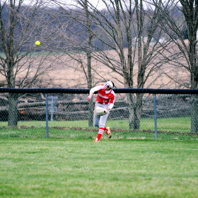Sheridan's Taylor Pagan throws the ball from center field against Philo on March 31 in Thornville. Pagan was voted the MVL Big School Division softball player of the year.