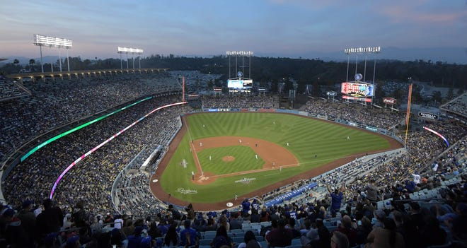 General view of Dodgers Stadium for the Los Angeles Dodgers' 9-0 win over the rival San Francisco Giants on April 1, 2018.
