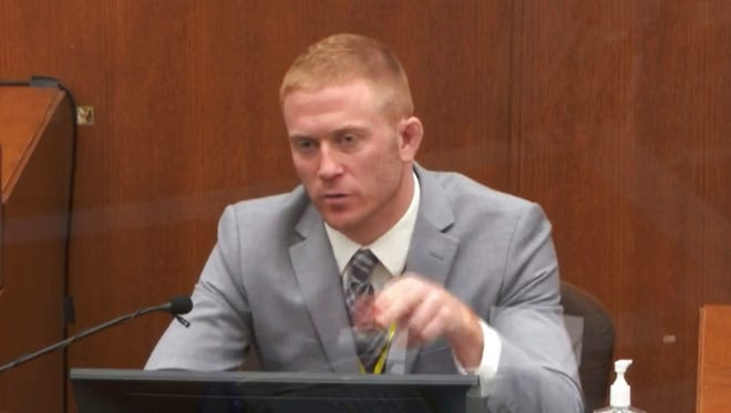 In this image from video, witness Derek Smith answers questions as Hennepin County Judge Peter Cahill presides Thursday, April 1, 2021, in the trial of former Minneapolis police Officer Derek Chauvin at the Hennepin County Courthouse in Minneapolis, Minn. Chauvin is charged in the May 25, 2020 death of George Floyd.