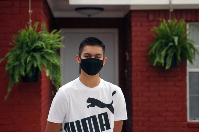 """Bryan Gonzalez-Alcantar, a junior at Colorado River Collegiate Academy in Bastrop, Texas, put off taking his dual enrollment college courses until this summer because of the pandemic. """"It does slow me down a little,"""" he said."""