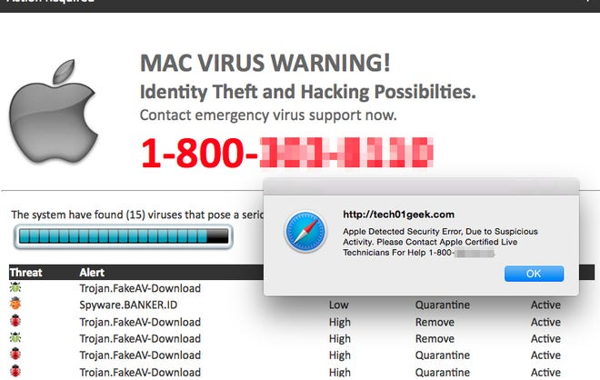 """An example of an """"Apple Support Scam"""" similar to the one the author's mom received on her MacBook Pro."""