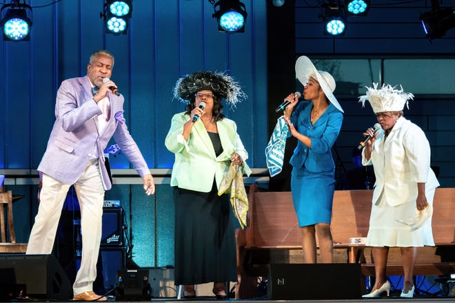 """Roderick Sanford, Janis Stinson, Kia Dawn Fulton and Judy Arnold in """"Gospel Down by the Riverside,"""" part of Zach Theatre's Songs Under the Stars series at People's Plaza."""