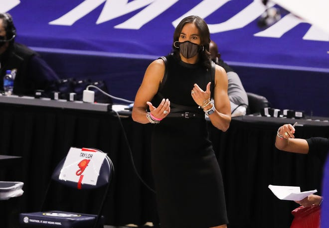 Mar 6, 2021; Greenville, SC, USA; Georgia Lady Bulldogs head coach Joni Taylor gestures during the first half against the Texas A&M Aggies at Bon Secours Wellness Arena. Dawson Powers-USA TODAY Sports
