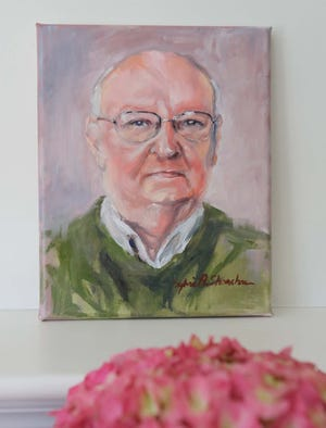 An oil painting of Harold Arnold by artist Sylvia Shanahan as part of the Faces Not Numbers project. Artists provide paintings of those who have died from COVID-19 to their family members at no charge.